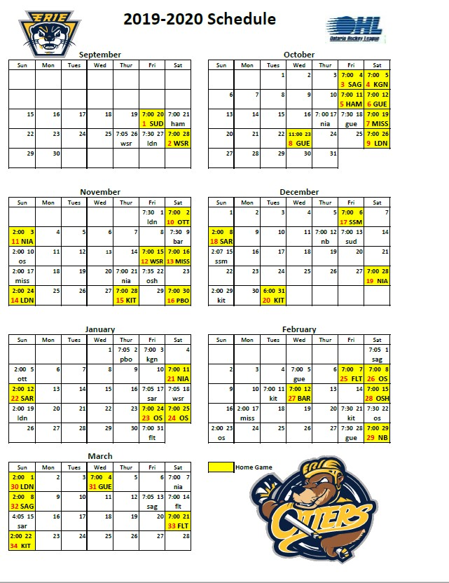 Erie Otters 2019-2020 schedule