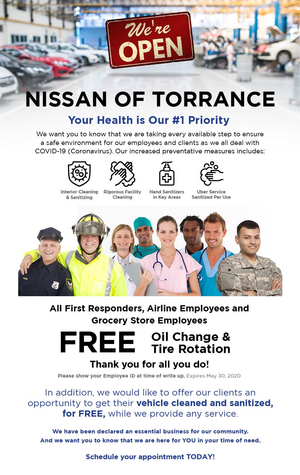 nissan of torrance essential worker service special